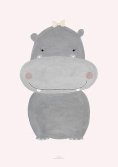 Pôster tema Hipopótamo para decoração do quarto de menina