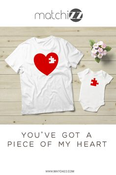 Mommy and Me Outfits Puzzle Piece of My Heart Valentine Piece of My Heart Craft Piece of My Heart art Mother Daughter Shirts, Father Son Matching Shirts, Mother Daughter Fashion, Mommy And Son, To My Daughter, Mom And Me Shirts, Kids Shirts, Mom And Son Outfits, Heart Shirt