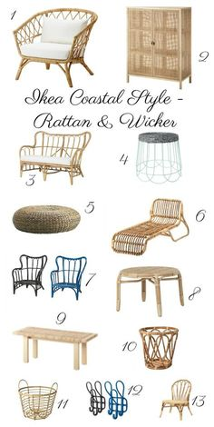 Best of Ikea rattan and wicker. Bring a casual, eclectic, beachy vibe to your home and garden with this natural element. Chairs, benches, tables and poufs. kellyelko.com