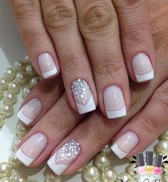 French tip nail designs fresh rhinestone art ideas of idea acrylic nails faded . french tip cute acrylic nails gel . Swarovski Nails, Crystal Nails, Nail Art Rhinestones, Rhinestone Nails, French Tip Nail Designs, Nail Art Designs, Nails Design, Beautiful Nail Art, Gorgeous Nails
