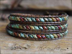 Boho Style Leather Wrap Bracelet with Czech Superduo. Created by The Bead Farm. Beaded Wrap Bracelets, Beaded Jewelry, Jewelry Bracelets, Handmade Jewelry, Embroidery Bracelets, Crochet Bracelet, Hippie Jewelry, Pandora Bracelets, Love Bracelets