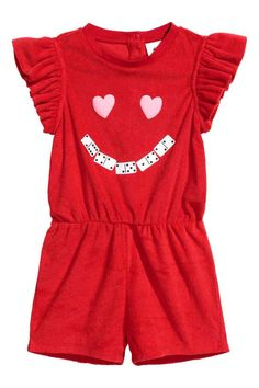 Terry playsuit - Red - Kids | H&M GB 1