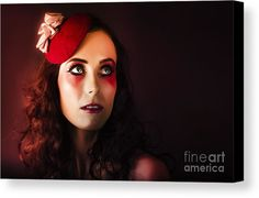 Actor Canvas Print featuring the photograph Luxury Woman In Red Makeup And Fashion Accessories by Jorgo Photography - Wall Art Gallery