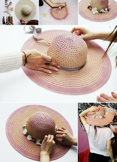14 ideias rápidas para customização de chapéus Chapéus Da Moda 99f1a667465