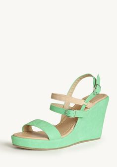 Margarita Strappy Wedges 39.99 at shopruche.com. Add vibrant color to your look with these lime green faux leather wedges featuring a nude accent strap. Finished with a strappy open-toed design and two adjustable buckle closures.0.75