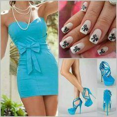 Black&white nail design blue dress blue pumps