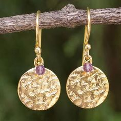 Artisan Crafted 24k Gold Plated Amethyst Earrings Thailand - Purple Harvest Moon | NOVICA