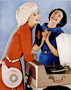 Might have a little trouble hearing the record while wearing the dryer, but perhaps that's what they are are laughing maniacally about