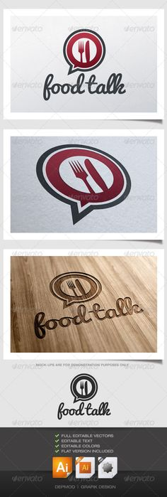 Food Talk Logo — Vector EPS #utensils #clean • Available here → https://graphicriver.net/item/food-talk-logo/4526244?ref=pxcr