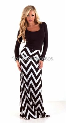 Black and White Chevron Maxi Skirt | Maxi skirts, Skirts and Color pop