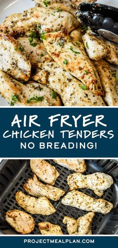 These Air Fryer Chicken Tenders are incredibly juicy, tender, and so simple to make. You won't miss the breading in this versatile chicken recipe! This delicious air fryer main dish is perfect for salads, wraps, and more! Main Dishes, Side Dishes, Air Fryer French Fries, Air Fryer Chicken Tenders, Chicken With Italian Seasoning, Marinated Chicken, Yum Yum Chicken, Air Fryer Recipes, Side Dish Recipes