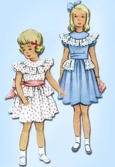1950s Vintage McCall Sewing Pattern 8048 Toddler Girls Ruffled