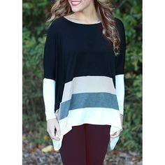 $13.70 Stylish Women's Striped Long Sleeve Asymmetrical Scoop Neck T-Shirt