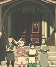 Gaang--- Toph didn't get the 'crossed arms' memo