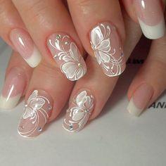 Wedding Nails Art Unghie Sposa Ideas For 2019 Nail Art Designs 2016, Flower Nail Designs, Nail Designs Spring, Cute Nail Designs, Cute Nails, Pretty Nails, Bridal Nail Art, Wedding Nails Design, Bridal Nails Designs