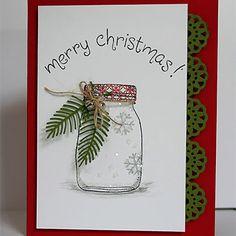 Carte Noël petit bocal et branchages