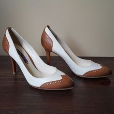 2b849ad71e2a4c Ralph Lauren Collection Purple Label Brown Off-White Oxford Heels Pumps 6.5  36.5  RalphLaurenCollection