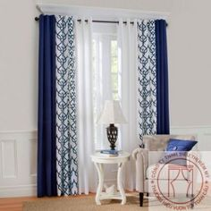 ThermalogicTM Allegra Patterned Curtains Grommet Top Insulated Shown With Curtain In Navy Colour