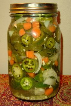 This makes one quart. Great for when you want to put together some jalapenos out of season. I dont use a water bath on this, since its just one jar, but you could if you wished.