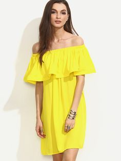 Shop Yellow Ruffle Off The Shoulder Shift Dress online. SheIn offers Yellow Ruffle Off The Shoulder Shift Dress & more to fit your fashionable needs.