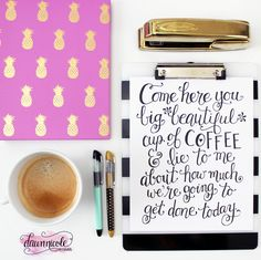 Free Print of The Week: Hand-Lettered Big Beautiful Cup of Coffee Print