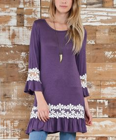 Another great find on #zulily! Lilac Lace Ruffle Long-Sleeve Tunic #zulilyfinds