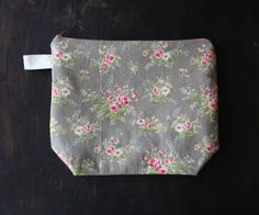 Oversized Project Bag Zipper Bag with Roses on by andreacreates