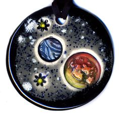 Planets Ceramic Necklace in Black and Gray by surly on Etsy, $20.00