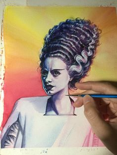 This is the second Bride of Frankenstein piece in my latest series. I just WISH I had her hair! Arches Watercolor Paper, Watercolour Painting, Bride Of Frankenstein Hair, Two Brides, Hair Lengths, Her Hair, Halloween Face Makeup, The Originals, Portrait