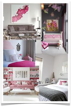 Love everything about the combination of grey and pink.