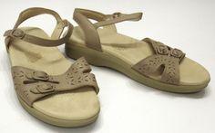 SAS Tripad Comfort 9 W Duo Beige Leather Ankle Strap Slingback Wedge Sandal USA #SAS #AnkleStrap #Casual