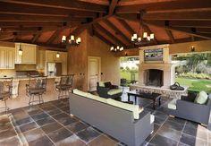summer kitchen fireplace