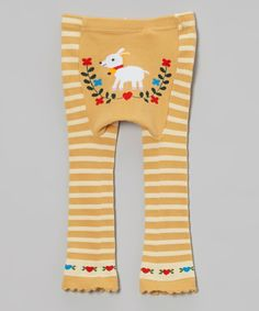 Take a look at this Lucy Leggings Yellow Goat Stripe Leggings - Infant on zulily today!