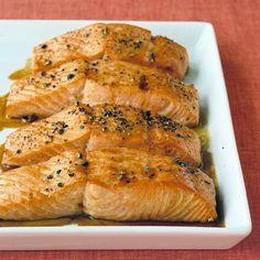 Soy-Glazed Salmon: brown sugar, olive oil, soy sauce, lemon juice, and white wine/water -- Martha Stewart Living