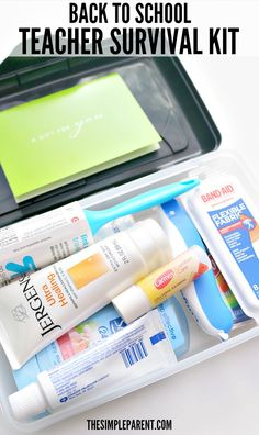 Use this teacher survival kit list to put together and easy and fun back to school gift! AD