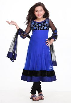 Blue Net and Velvet Readymade Churidar Anarkali Kameez