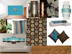 My Ideal Living Room Color Scheme Some Things I Threw Together Love The Teal Brown Cream Combo