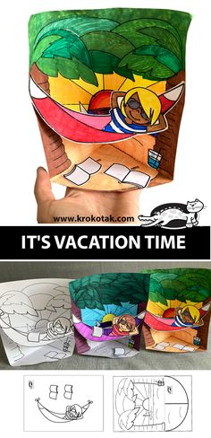 krokotak | IT'S VACATION TIME New Year's Crafts, Diy And Crafts, Paper Crafts, Paper Fruit, Chinese New Year Crafts, Summer Activities, Children Activities, Christmas Crafts For Kids To Make, 3d Craft