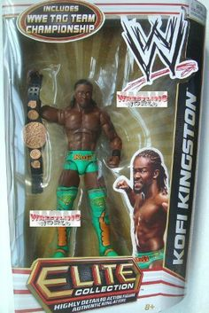 WWE Series 17 Elite Collector Kofi Kingston Figure by Mattel. $29.95. Elite Collection Series #17 features authentically sculpted 6-inch figure. Perfect for WWE fans and collectors of all ages. Bring home the officially licensed WWE action. Kids can recreate their favorite WWE matches. Features deluxe articulation, amazing detail, and authentic accessories. From the Manufacturer                World Wrestling Entertainment Elite Collection Series #17: Capturing all the action a...