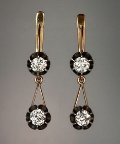Vintage 1,60 ctw Diamond náušnice - Starožitné šperky | Klasické kroužky | Faberge vejce