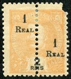1912-13 Scott 260C 1r on 2r orange Perforated Vertically through the Middle Each Half Surcharged with New Value