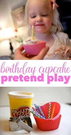This Birthday Cupcake Pretend Play activity is perfect just for fun or for getting your child ready for their big birthday! Playdough Activities, Learning Activities, Baby Activities, Summer Activities, Dramatic Play Area, Indoor Activities For Toddlers, Birthday Activities, Birthday Week, Birthday Ideas