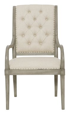 359-542 Marquesa Arm Chair | Bernhardt Tufted W 24 D 29.5 H 41.5 SH 19 AH 25 SD 19 Gray Cashmere Finish Assigned Fabric B993 $765 For other Fabrics $972.50  #ArmedChair #Under1K #OpenArm