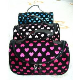 BDS - Black with Pink Dot (Heart Shape) Travel Toiletry Cosmetic Makeup Bag Organizer by Best Deal Shopper (BDS). $12.95. Great gift idea!. Perfect for home or on the go. UPC 661799262194 and BDS are licensed trademarks of Best Deal Shopper, LLC. It has mulitlple slots for brushes, lips sticks, and others. Plus one mirror. Organize all your Makeup and Brushes. This cute organize and secure your full size foundations, makeup brushes, eye makeup and lip products and more a...