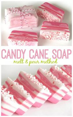 This candy cane soap smells as nice as it looks! Layers of pink and white glycerin soap come together with crushed candy canes for a cute and easy gift idea this holiday season. diy gifts Melt and Pour Candy Cane Soap Tutorial for Easy Holiday Gifts! Handmade Soap Recipes, Soap Making Recipes, Handmade Soaps, Diy Soaps, Diy Soap Easy, Easy Recipes, Diy Savon, Savon Soap, Easy Gifts