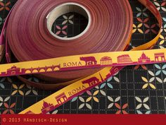 5m Rom / ROMA skyline, Webband, orange/rot von Händisch-Design auf DaWanda.com