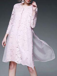 Pierced Silk Paneled Midi Dress