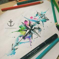 By Felipe Bernardes, Brazilian Tattoo Artist | Watercolor work ( Anchor, boat and Wind rose)