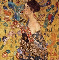 Woman with fan-Gustav Klimt-Art Print Art Klimt, Pics Art, Unique Wall Art, Oil Painting Reproductions, Painting Edges, Stretched Canvas Prints, Illustrations, Art Nouveau, Original Paintings