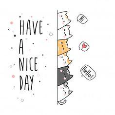 Cute cat kitten family cartoon doodle greeting card Vector | Premium Download Cat Doodle, Doodle Art Drawing, Card Drawing, Chat Halloween, Halloween Mignon, Kitten Cartoon, Cute Cartoon, Animal Doodles, Dibujos Cute